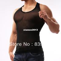 Wholesale Hot sale mens sexy muscle tank top mens mesh tank shirt transparent gauze vest for men fitness gym undershirt