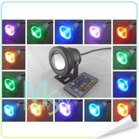 al por mayor 12v ir reflectores-Mejor impermeable Led Luz subacuática 16 que cambia de color RGB LED piscina fuente del estanque de la lámpara de 10W 12V RGB Proyector Con 24Key IR remoto 002127