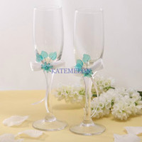 wine glass box - free delivery Wedding party senior champagne glass Acrylic leaves silver display box for cup Blue wine red