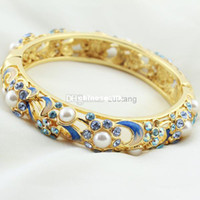 Wholesale High Quality Austrian Rhinestone with Pearl k gold plated Brand Bracelets Hollow Vintage Cloisonne Enamel Bangles for Women Gi
