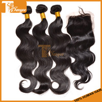 """Brazilian Hair Body Wave 12 14 16 18 20 22 24 26 28 inch Brazilian Virgin Hair 4 Bundles Lot 3Pcs Hair Weft And 1pc Top Lace Closure 4""""X4"""" Natural Color Body Wave Human Hair Weave Free Shipping"""