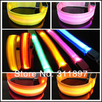 Wholesale Nylon Webbing LED Flashing Warning Safety Arm Band Wrist Strap Armband for Outdoor Sports Party Colors by ems dhl