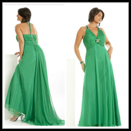 Wholesale Charming Green Long Chiffon Plus Size Special Occasion Dresses Halter V Neck Beading Floor Length Zipper Evening Prom Gowns Custom Made