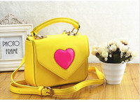 Wholesale Heart Shaped Plain Color Children Girls Handbags Princess Yellow Red Shoulder Bags Candy Bags Kids Casual Women Cute Bags B3132
