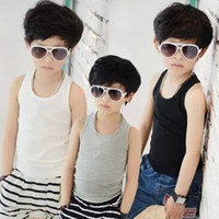 Wholesale Summer Boy Tank Tops Kids Clothes Solid Color Sleeveless Tshirts Children Clothing Vest Top Kid Jumper Tee Child Cloth D2415