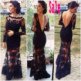 Wholesale Sexy Backless Black Lace Long Sleeves Bateau Prom Evening Dresses Sheer Neck Mermaid Celebrity Pageant Party Bridal Gowns Cheap SSJ