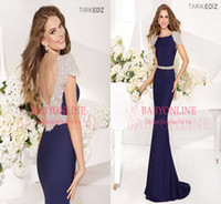 Reference Images Jewel/Bateau Satin Hot 2014 Vestidos Long Formal Evening Dresses Sexy Bateau Crystals Cap Sleeves Backless Satin Mermaid Vintage Long Party Prom Gowns TE92057