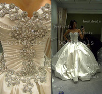 Wholesale 2014 ball gown Crystal Wedding Dresses Luxurious Sexy Sweetheart Beads Pleats Cathedral Train Christmas Bridal Gowns BO3110