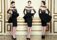 Reference Images Jewel/Bateau Taffeta Latest 2014 Pant Suits Applique Peplum Column Bateau Long Sleeve Knee-Length Celebrity Dresses
