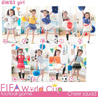 Wholesale Baby Girl World Cup Soccer Pajamas Top Quality Children Sleeping Wear with Nice Embroidery Girl Short Sleeve T shirt Skirt