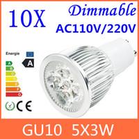 Spotlight Power LED 15W 10pcs GU10 15W 5x3W 110V-120V 200V 220V 230V 240V Dimmable High power CREE LED Spot Light Bulb Spotlight downlight lamp