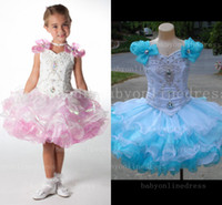 Reference Images girls knee length pageant dresses - Cute exquisite organza little girls cupcake pageant dresses with sequins beaded ruffles knee length cap sleeves flower girls dress BO4825