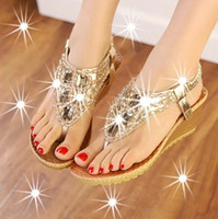 Wholesale New style Fashion wedge sandals women clip toe diamond beads Ms High heels sexy Wedding shoes With low Lady sandals Big yards US4_US9 NX81