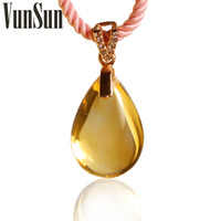 Pendant Necklaces South American Women's VunSun genuine natural citrine citrine pendant necklace female models wild fashion crystal jewelry lucky