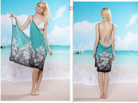 Wholesale Deep V neck sun crossing beach dress Swimwear clothes skirt Bikini skirt Wrap Dress sarong cover ups