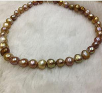 Wholesale Natural AAA mm Baroque pearl necklace18inch14k