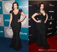 Reference Images V-Neck Lace New Arrival-Sexy Sheath Black Mermaid Kim Kardashian Celebrity Dress Cap Sleeve Sweep Train Sleeveless Lace V-neck Zipper Back Evening Gown