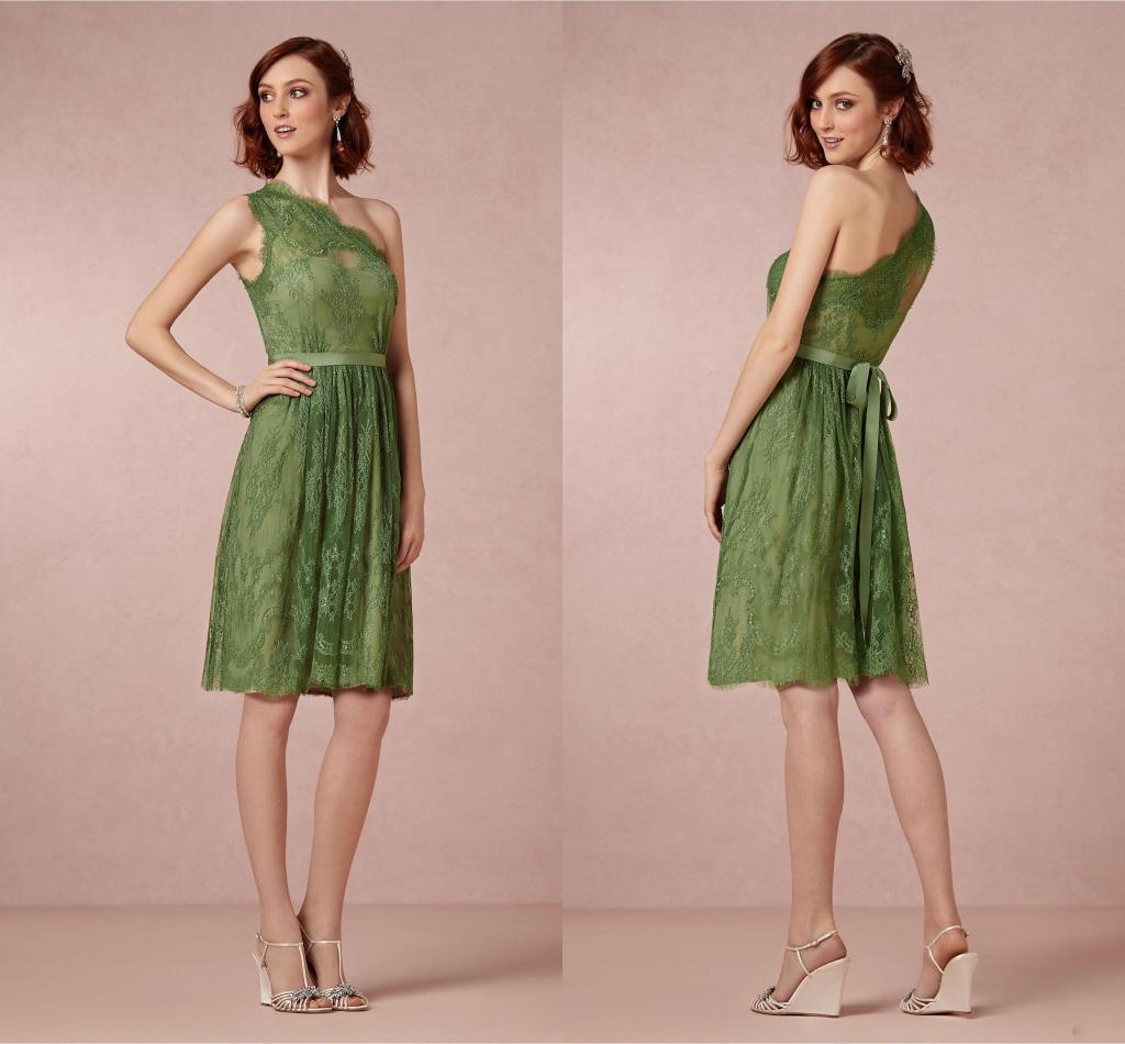 2014 Modest Cute Olive Green Lace Appliqued e Shoulder