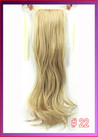 Wholesale 22 quot cm g body wave ribbon ponytail hairpiece hair pieces clip in hair extensions color Light Honey Blonde
