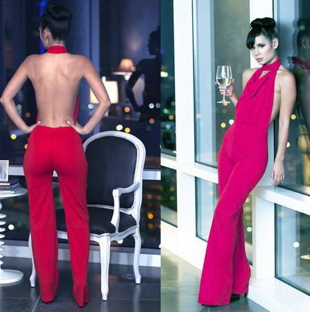 2016 Sexy Jumpsuits Halter Backless Celebrity Women Nightclub Red ...