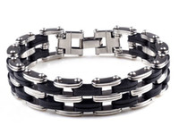Wholesale NEW Unique Sliver Color Titanium Steel Bracelet Stainless Steel Bacelet for Man B577