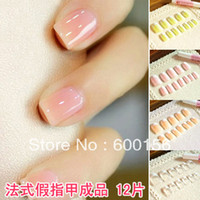 Full Natural Tips Square  Nail Tips 6psc short upscale French false nails and glue fake nails French manicure nail patch nail tips 12 Free Shipping