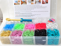 Cheap loom 3000 bands family loom kit bracelet, glitter,solid,glow in the dark color rainbow loom kit loom bands DIY bracelet