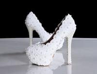 Pumps Low Heel Round Toe 2014 Applique lace beaded Pearls High heels lady's formal shoes Women's Beaded Bridal Evening Prom Party Wedding Dresses Bridesmaid Shoes