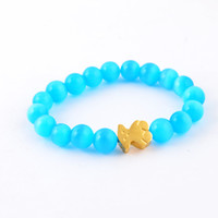 Beaded, Strands bead bear - Fashion candy colors agate beads bracelet silver gold L stainless steel lovely bear clasp beads bracelet bangle jewelry