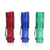 Wholesale 5 Colors W LM Mini Q5 LED Flashlight Torch Adjustable Focus Zoom Light Convex Lens Lamp H4846