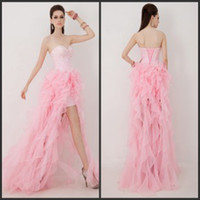 Reference Images Sweetheart Organza 2014 Chic Beading Sweetheart Corset Front Short Back Long Beaded Ruffled Pink Organza A-Line Hi-Lo Prom Pageant Party Dresses Cheap on Sale