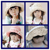 Wholesale New Arrival Spring Children s Fashion Caps Kid s Summer Style Straw Hats Girl s Korean Designer Caps Baby s Sun Block hats girls beach caps