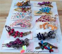 wholesale hair barrettes - Gorgwous Rhinestone Resin Crystal Peacock Flower Hair Clips Barrettes Fashion Women Hair Accessory FS174