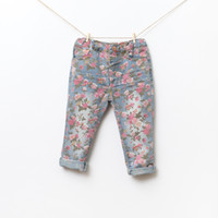 Wholesale 2014 New arrival wholesal fashion autumn spring cotton girl jeans pretty kids floral trousers princess casual pencil pants