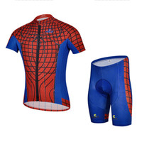 Wholesale Spiderman Cycling Jersey Suits Mens Novelty Cycling Jersey and Short Padded Designer Cycling Clothing Red Blue