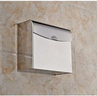Wholesale 304 stainless steel bathroom tissue box toilet paper holder box square towel rack T30