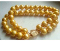 Asian & East Indian asian culture - 2 ROW MM Golden South Sea Cultured Pearl Bracelet K quot quot AAA