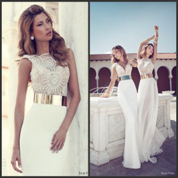Wholesale Julie Vino Three Styles Illusion Neck Bateau V Neck Cap Sleeve Chiffon Beaded Summer Beach Garden Sheath Wedding Prom Dresses with Belt