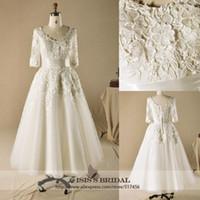 Wholesale Vintage plus size V neck A line lace sleeve tea length champagne wedding dresses