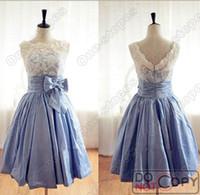 Wholesale 2014 Cheap Summer Elegent Bridesmaid Dresses Crew Neck Lavender Knee Length Zipper Back Sash Bow Formal Prom Gowns Under