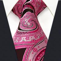 al por mayor marca de fábrica de seda de la corbata-P19 Paisley Negro Negro Corbatas Corbatas Corbata Extra Long Size 100% Silk Jacquard tejido a estrenar