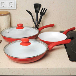 Wholesale Ceramicore ceramic pan ceramic coating pot flat buzhanguo frying pan piece set