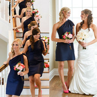 Modest Bridesmaids Short Navy Blue Dark 2014 Stain Maid of H...