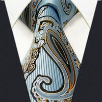 Wholesale G33 Paisley Blue Black Yellow Mens Neckties Ties Silk Jacquard Woven Brand