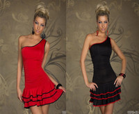 Wholesale 2014 Babydoll Clubwear Ladies Sexy Lingerie Fashion single Shoulder women s dresses sexy dresses With G string red N094