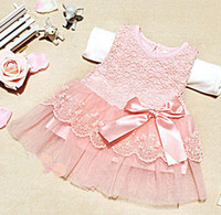 Wholesale Retail NEW children fashion girl lace bowknot Vest cotton yarn skirt summer kid princess pink white one piece dresses skirts