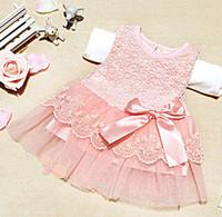 TuTu white lace skirt - Retail QA NEW children fashion girl lace Vest cotton yarn skirt summer children princess pink white dresses skirts
