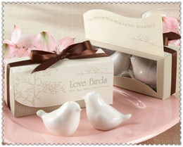Wholesale 120 set SET OF wedding favor love bird ceramics salt pepper shaker wedding party gift supplier favors