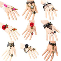 Wholesale 12pcs mixed order Vintage Flower Bronze Charm Black White Lace Slave Bracelet SF009