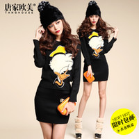 Wholesale Tang spring European and American female shipping new cute Donald Duck sweater skirt Slim leisure suit